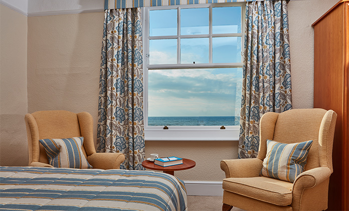 Sea view bedroom at The Royal York & Faulkner Hotel, Sidmouth