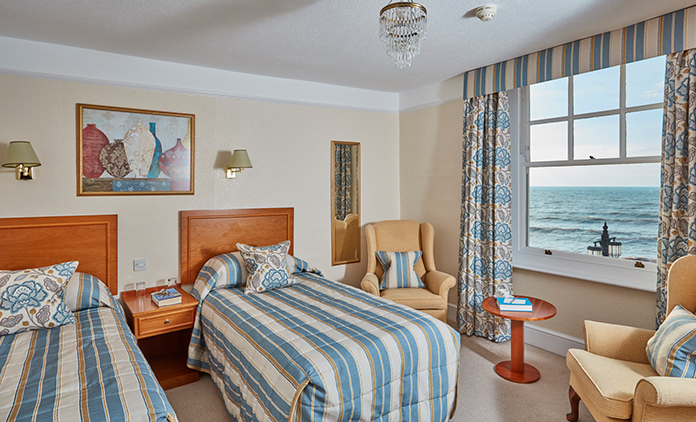 Twin sea view bedroom at The Royal York & Faulkner Hotel, Sidmouth