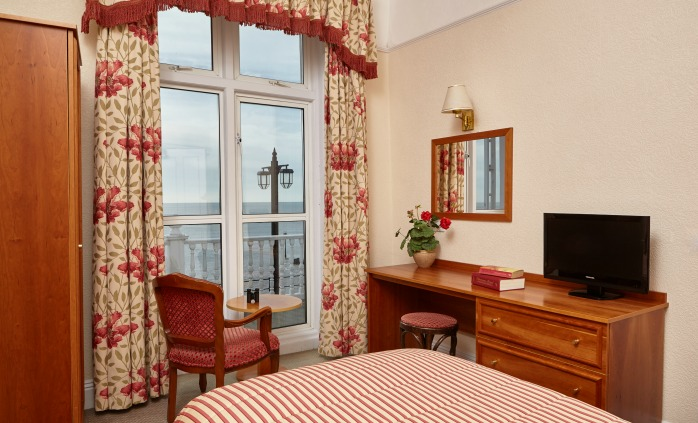 Single sea view bedroom at The Royal York & Faulkner Hotel, Sidmouth