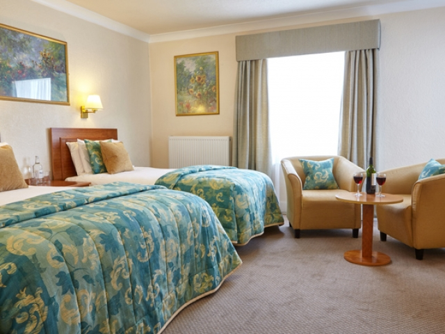 Standard twin bedroom at The Royal York & Faulkner Hotel, Sidmouth