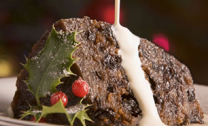 Delicious Christmas pudding at The Royal York & Faulkner Hotel, Sidmouth