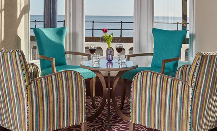 Sea views from the Faulkner Bar at The Royal York & Faulkner Hotel, Sidmouth