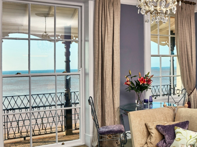 The York Suite lounge leads to a private canopied balcony, Sidmouth