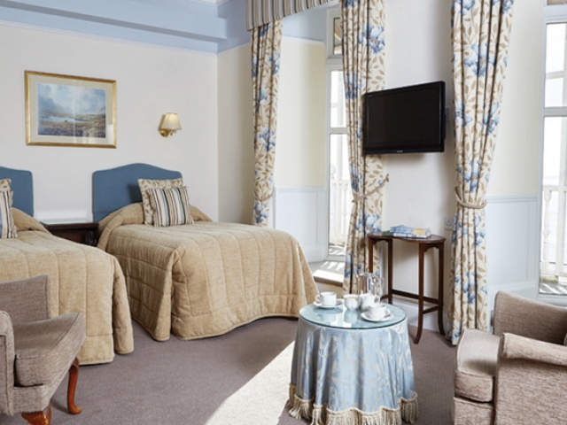 Deluxe sea view twin bedroom at The Royal York & Faulkner Hotel, Sidmouth
